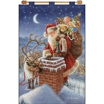 Santa at the Chimney Sequin Banner