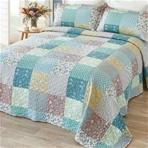 Colourful patchwork print bedspread